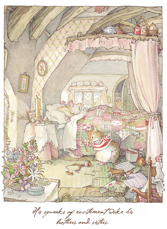 Brambly Hedge Art Print featuring the drawing Wilfred's Birthday Morning by Brambly Hedge
