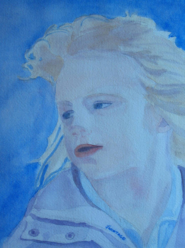 Portrait Portraits Art Print featuring the painting Windswept by Jenny Armitage