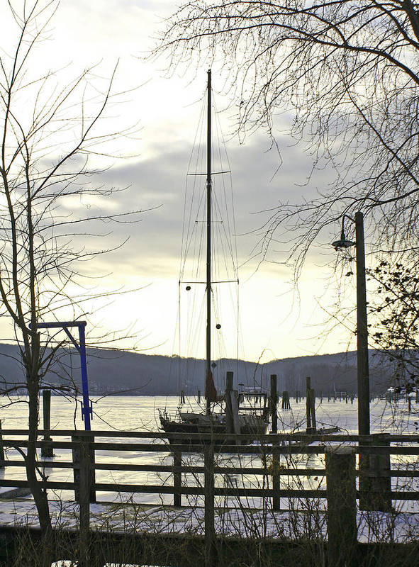 Sail Boat Art Print featuring the photograph Winter Mooring by Gerald Mitchell