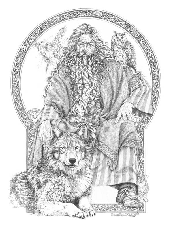 Wizard Art Print featuring the drawing Wizard IIi - The Family Portrait by Steven Paul Carlson