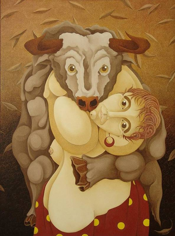 Sacha Art Print featuring the painting Woman Embracing Bull 2005 by S A C H A - Circulism Technique