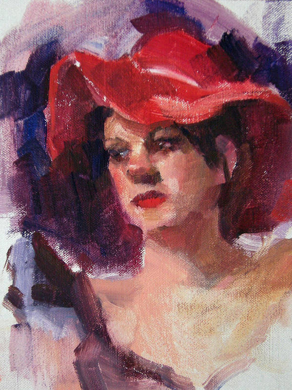 Portrait Art Print featuring the painting Woman In A Floppy Red Hat by Merle Keller