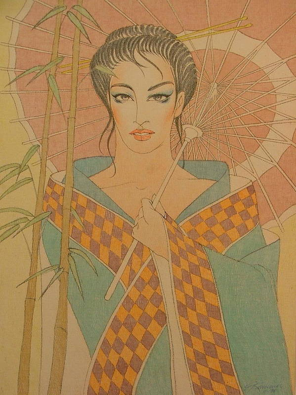 Female Art Print featuring the painting Woman Under The Bamboo Umbrella by Gary Kaemmer