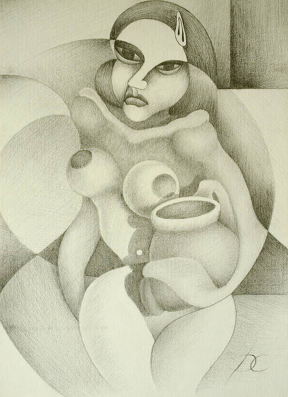Woman Art Print featuring the drawing Woman With A Pitcher by Dagmara Czarnota