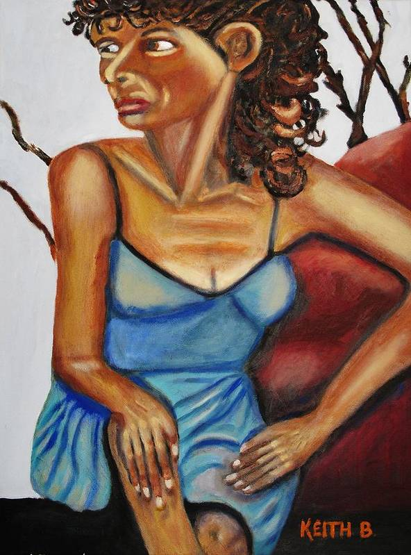Woman Art Print featuring the painting Woman With Curly Hair by Keith Bagg