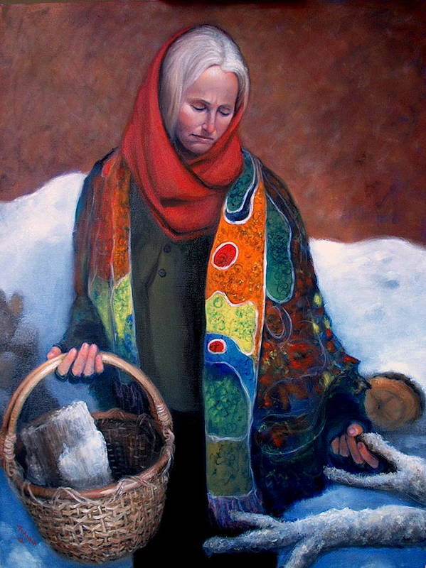 Realism Art Print featuring the painting Woodgatherer by Donelli DiMaria
