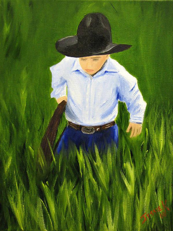 Portrait Art Print featuring the painting Workin Hard by Jessica Krogstadt
