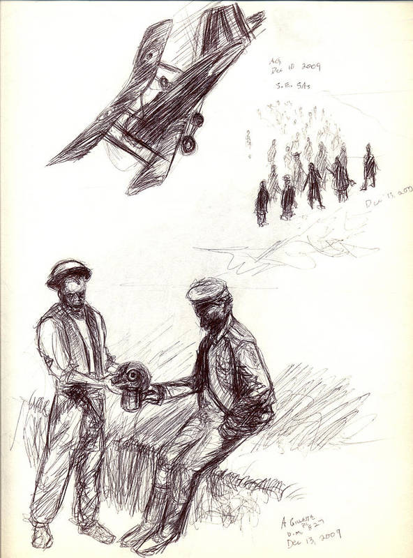 Military Art Print featuring the drawing World War One Sketch No. 2 by Andrew Gillette