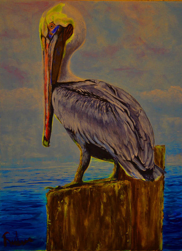 Pelican Art Print featuring the painting Yellow Hue by Ruben Barbosa