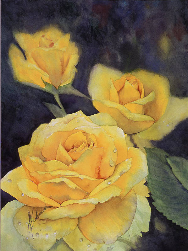Yellow Roses Art Print featuring the painting Yellow Rose by Leah Wiedemer