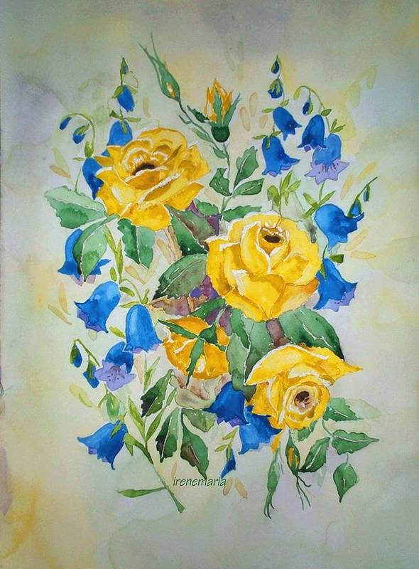 Roses Flowers Art Print featuring the painting Yellow Roses And Blue Bells by Irenemaria Amoroso