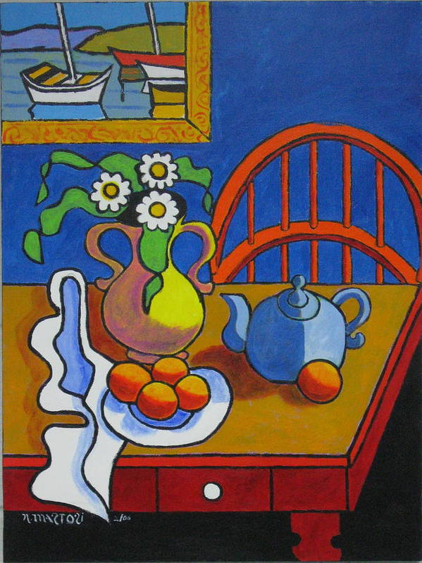 Teapot Art Print featuring the painting Yellow Vase With Blue Teapot by Nicholas Martori