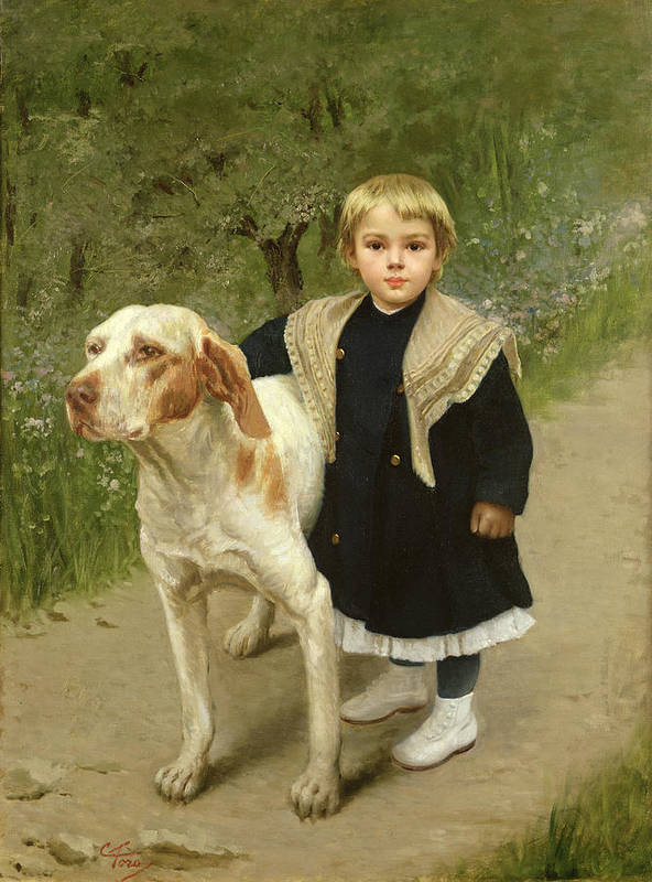 Young Art Print featuring the painting Young Child And A Big Dog by Luigi Toro