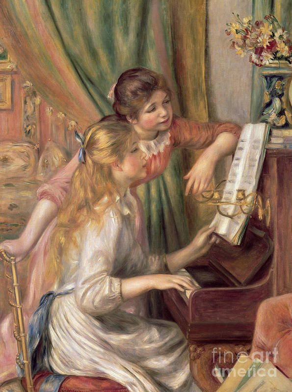 Young Print featuring the painting Young Girls At The Piano by Pierre Auguste Renoir