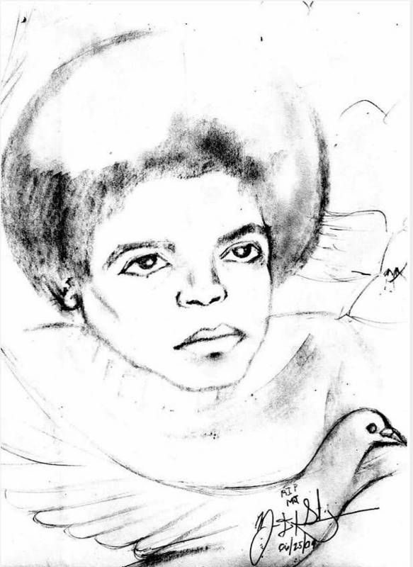 Mj Print featuring the drawing Young Micheal Jackson by HPrince De Artist