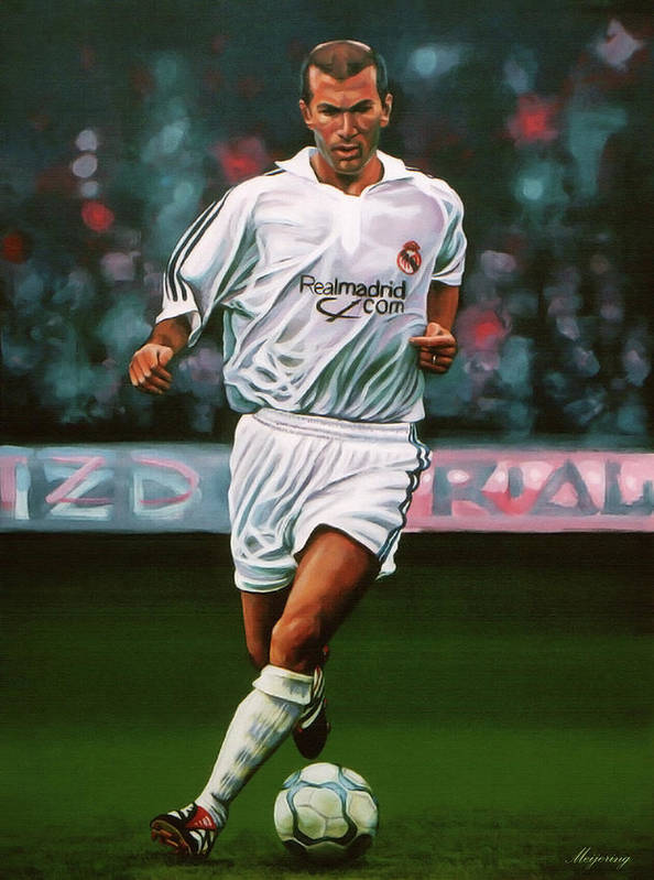 7325248ae Zinedine Zidane Art Print featuring the painting Zidane At Real Madrid  Painting by Paul Meijering
