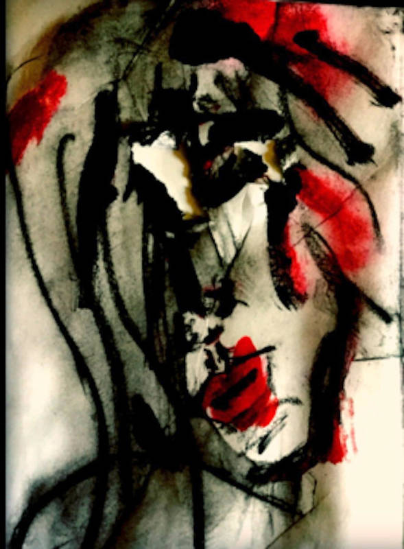 Abstract Art Print featuring the digital art Listening To Tom Waits by Angie Stimson