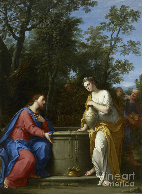 Christian Art Print featuring the painting Christ And The Woman Of Samaria by Marco Antonio Franceschini