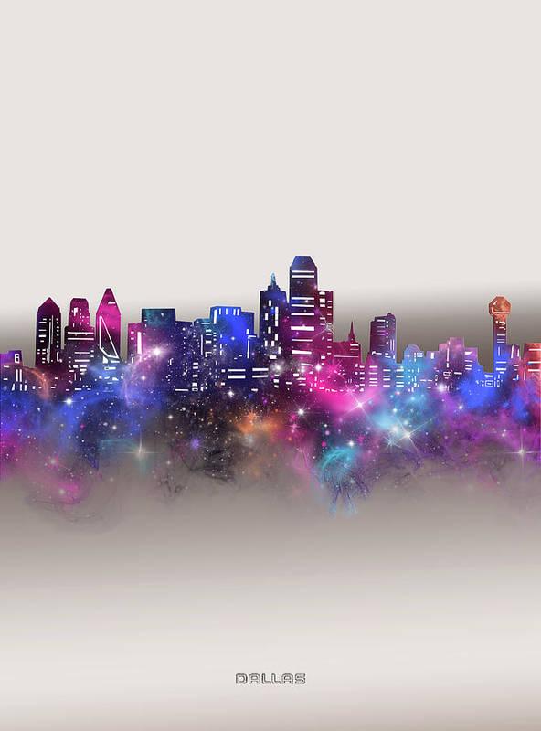 Dallas Art Print featuring the digital art Dallas Skyline Galaxy by Bekim M