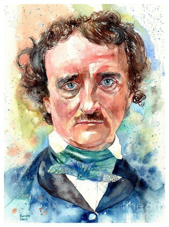 Edgar Allan Poe Art Print featuring the painting Edgar Allan Poe Portrait by Suzann Sines