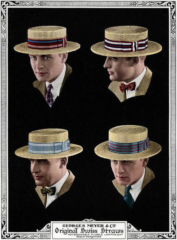 People Art Print featuring the digital art Four Men Wearing Boater Hats by Graphicaartis