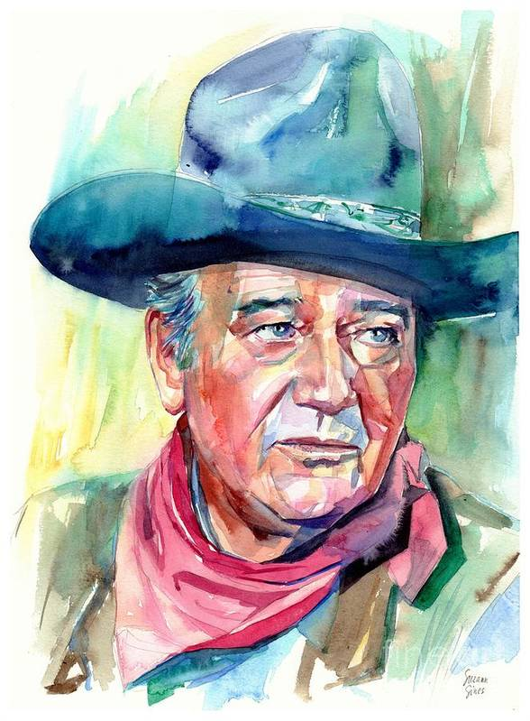 John Art Print featuring the painting John Wayne Portrait by Suzann Sines