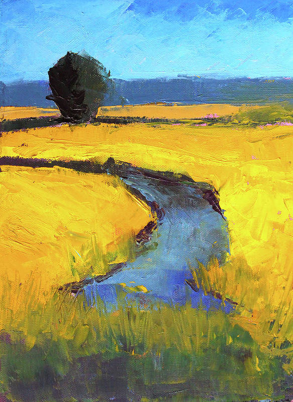 Yellow Landscape Art Print featuring the painting Mid July by Nancy Merkle