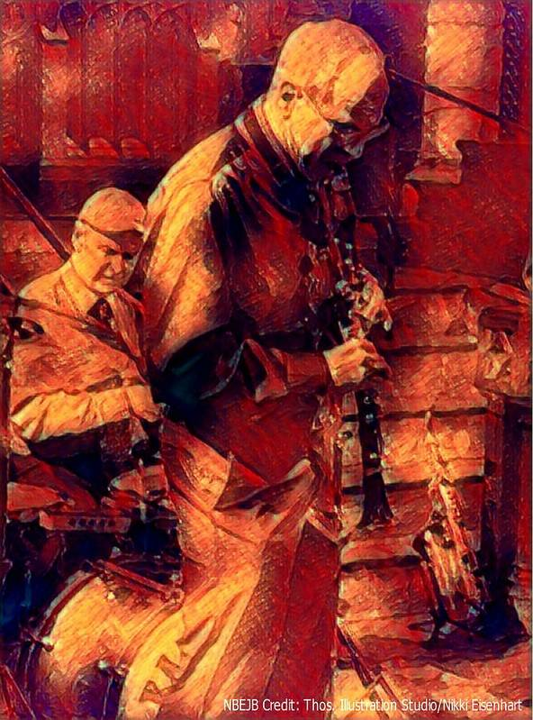 New Black Eagle Jazz Band Art Print featuring the mixed media New Black Eagle Jazz Band - Bill And Billy by Marshall Thomas