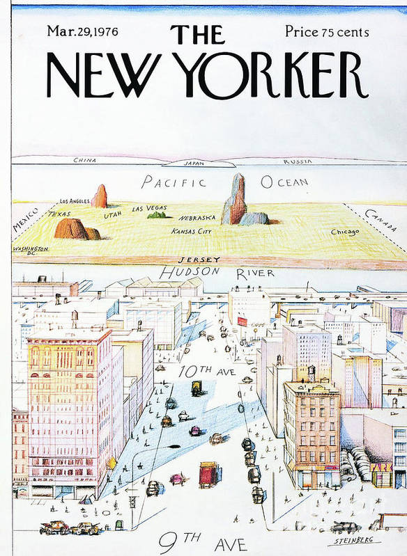 The New Yorker Art Print featuring the painting The New Yorker - March 29, 1976 by Saul Steinberg