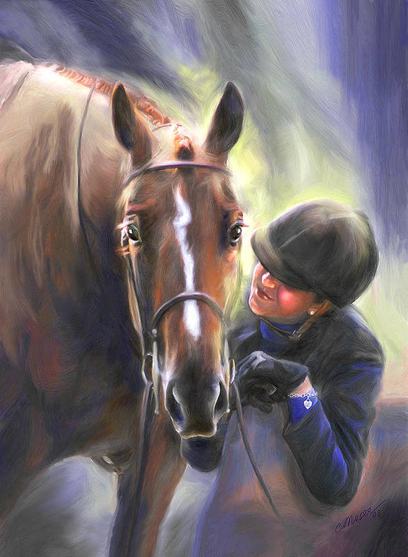 Horse Art Print featuring the painting A Secret Shared Hunter Horse With Girl by Connie Moses