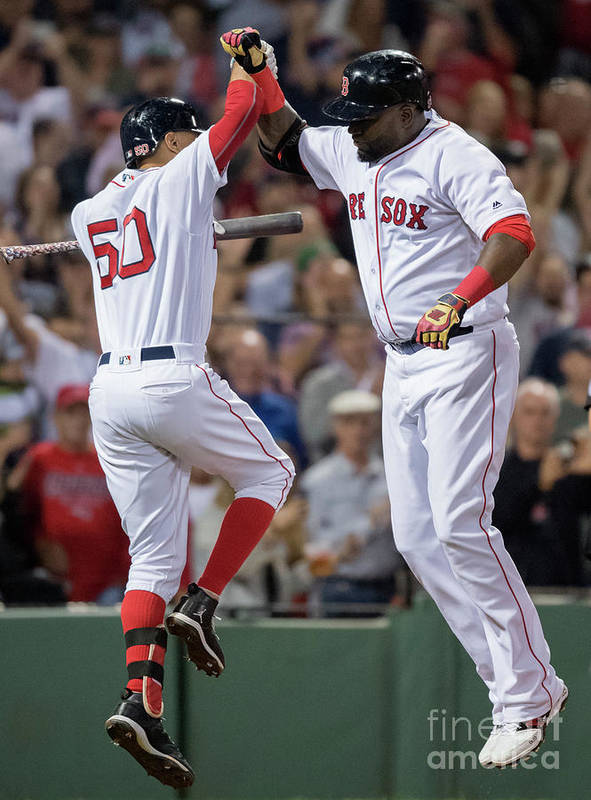 People Art Print featuring the photograph David Ortiz And Mookie Betts by Michael Ivins/boston Red Sox