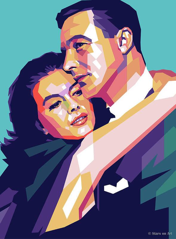 Natalie Art Print featuring the digital art Natalie Wood And Gene Kelly by Stars on Art
