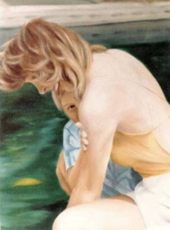 A Mother And Her Child Art Print featuring the painting A Moment Of Shyness by Steven Welch