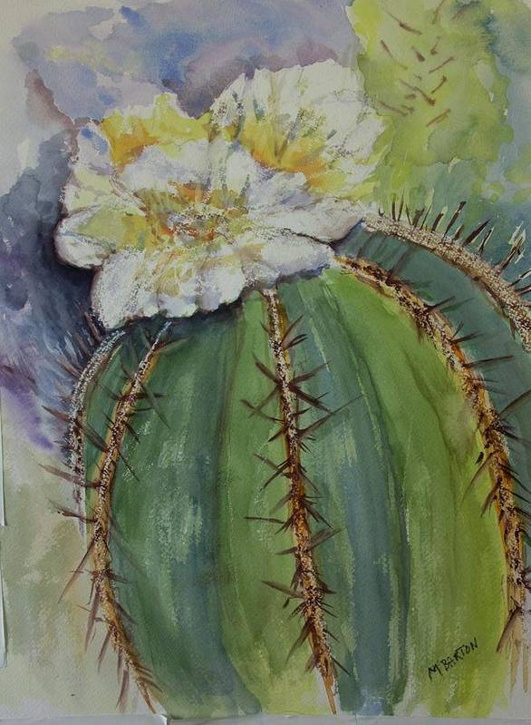 Cactus Art Print featuring the painting Barrel Cactus In Bloom by Marilyn Barton