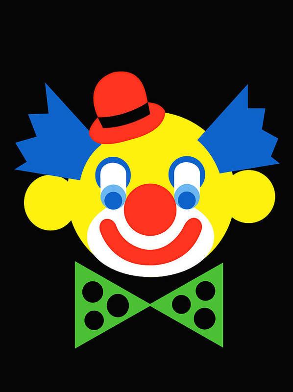 Clown Art Print featuring the digital art Clown by Asbjorn Lonvig