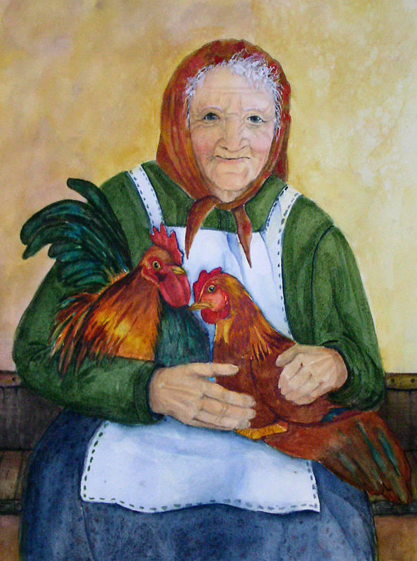 Old Lady Art Print featuring the painting Country Chickens by Gina Hall