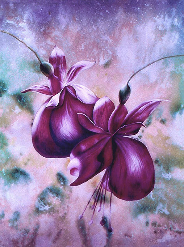 Flowers Fuchsia Art Print featuring the print Fat Fuchsia by JoLyn Holladay