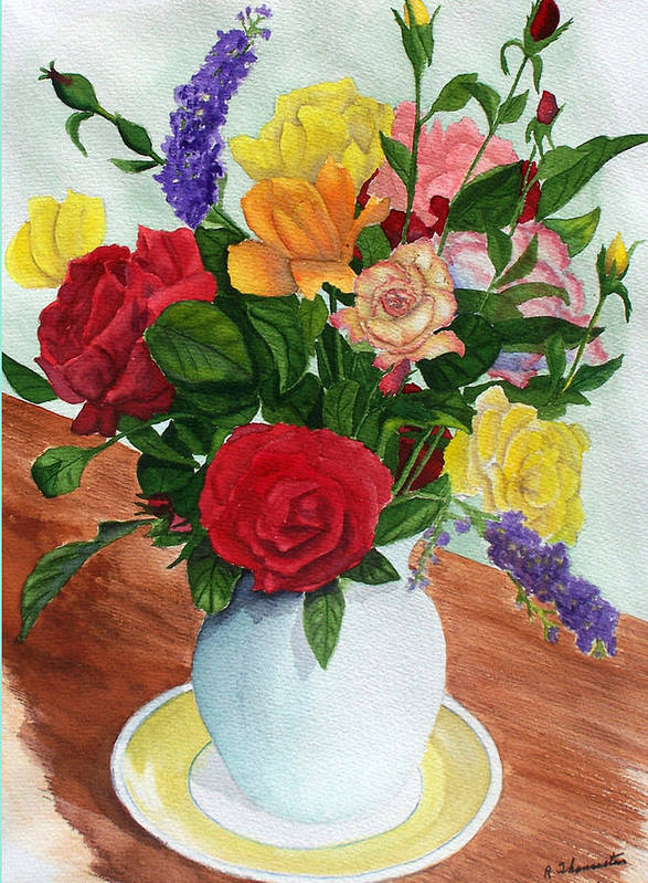 Floral Art Print featuring the painting Flowers On A Cat Dish by Robert Thomaston