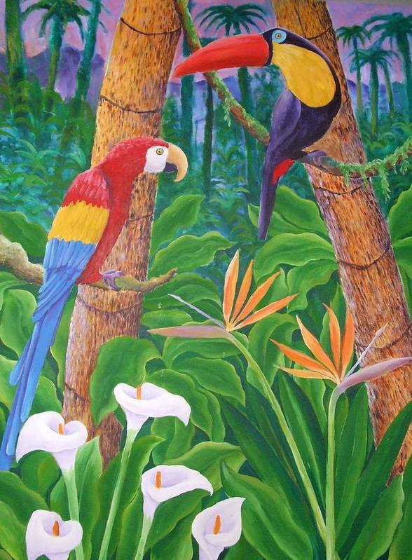 Tropical Landscape Birds Flowers Art Print featuring the painting In The Jungle by Jubamo