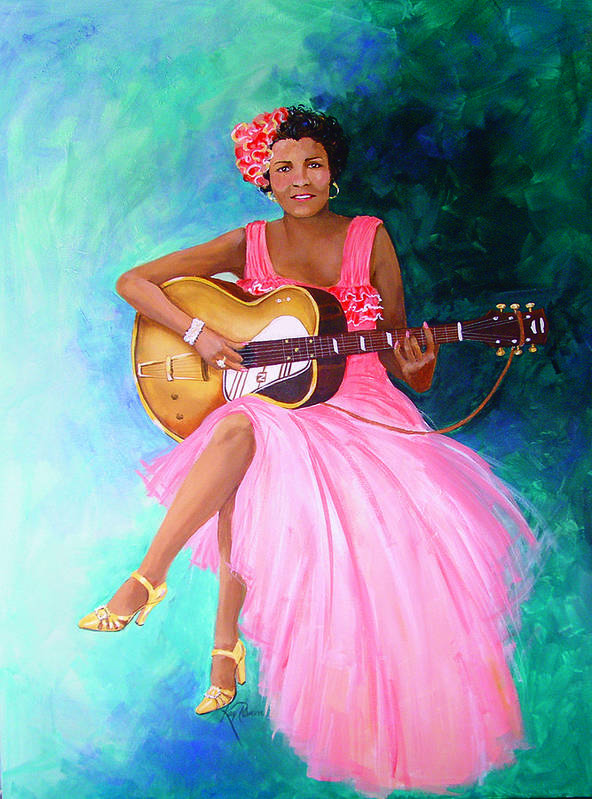 Blues Singers Art Print featuring the painting Memphis Minnie by Kay Robinson