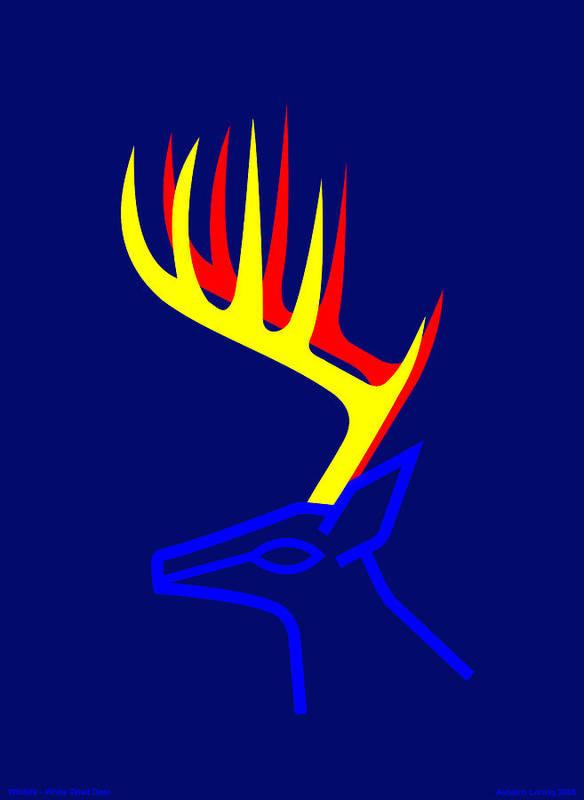 Art Print featuring the digital art White Taled Deer by Asbjorn Lonvig