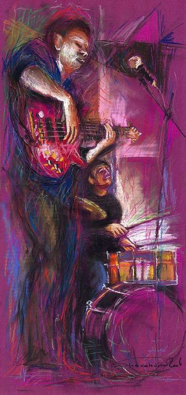 Jazz Art Print featuring the painting Jazz Purple Duet by Yuriy Shevchuk