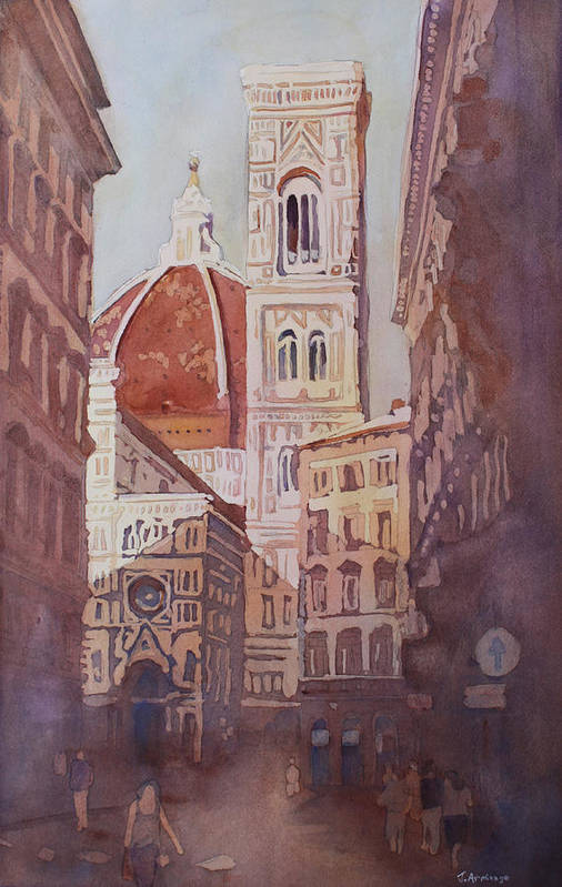 Duomo Campainula Art Print featuring the painting And Suddenly The Duomo by Jenny Armitage