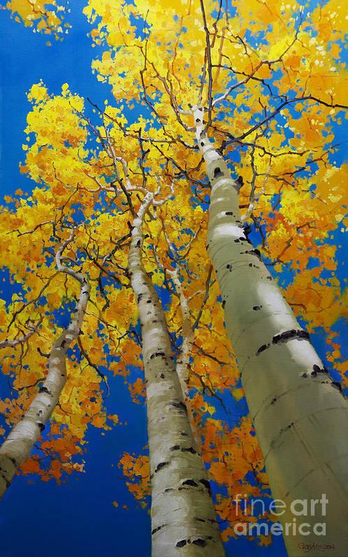 Blue Sky And Tall Aspen Trees Art Print featuring the painting Blue Sky and Tall Aspen Trees by Gary Kim