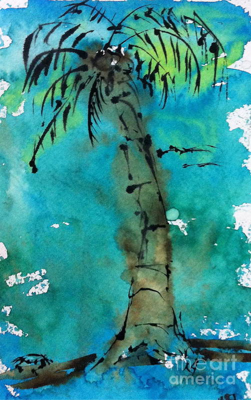 Watercolor Art Print featuring the painting Blue Sky Palm by Norma Gafford
