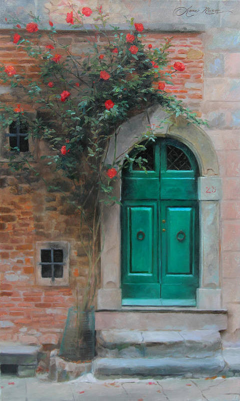 Roses Art Print featuring the painting Climbing Roses Cortona Italy by Anna Rose Bain