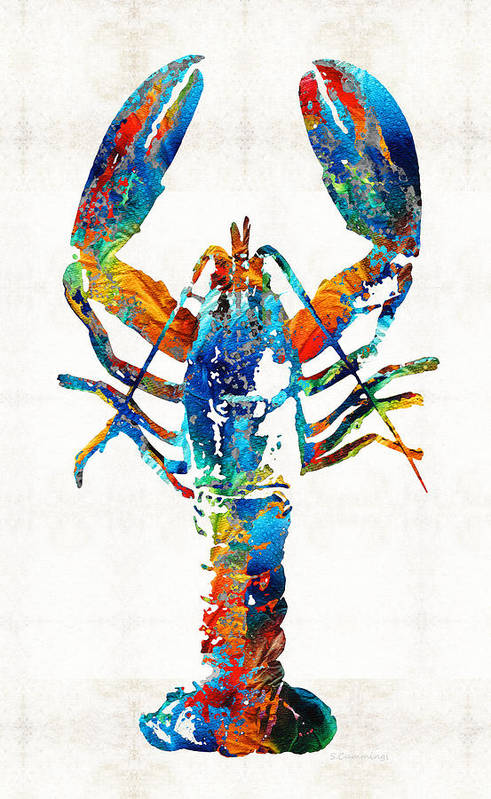 Lobster Art Print featuring the painting Colorful Lobster Art by Sharon Cummings by Sharon Cummings