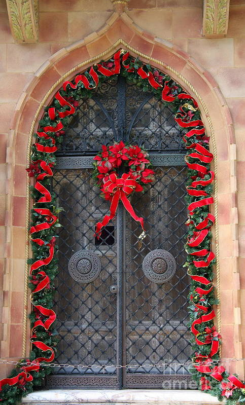 Christmas Door Art Print featuring the photograph Door With Christmas Decoration by Christiane Schulze Art And Photography