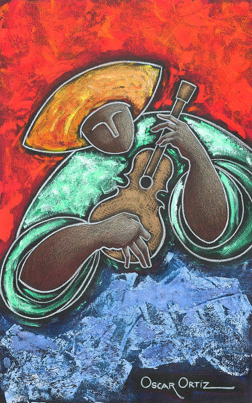 Puerto Rico Art Print featuring the painting Jibaro Encendi'o by Oscar Ortiz