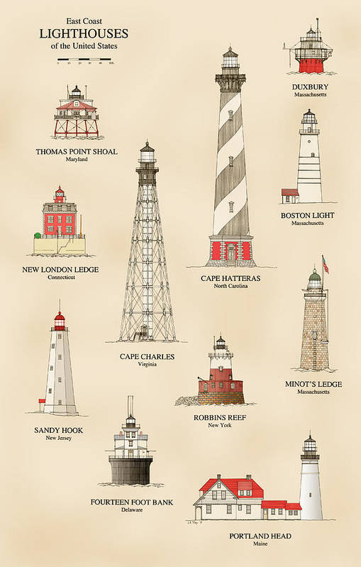Lighthouse Art Print featuring the drawing Lighthouses Of The East Coast by Jerry McElroy